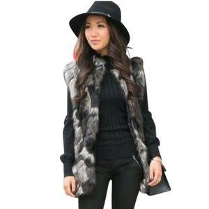Vince Camuto Faux Fur Vest Black Gray White S